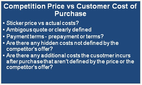 Customer price vs customer cost to purchase